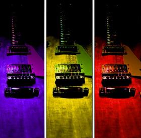 Abstract Pop Art Guitar Triptych