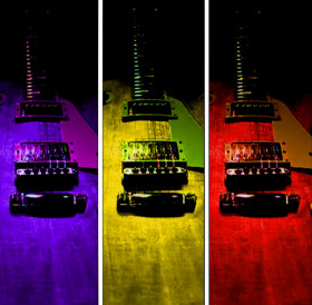 Abstract Pop Art Guitar Triptych Guitarwacky.com