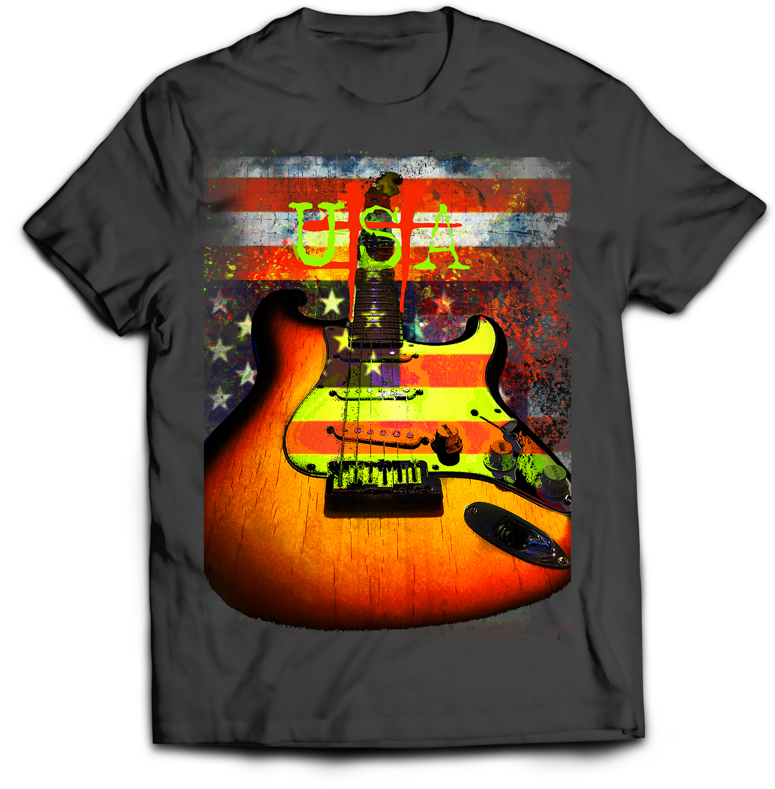 Guitar Rock Music USA Patriotic American Flag T-Shirt