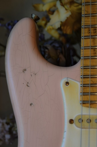 Fender Stratocaster Custom Relic Guitar Finish Checking Shell Pink Guitarwacky.com