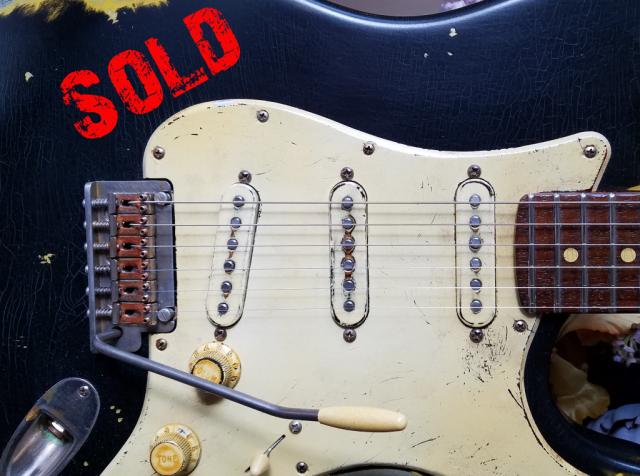 Fender Stratocaster Heavy Relic Black Pickguard Pickups Guitarwacky.com