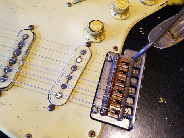 Fender Stratocaster Heavy Relic Black Bridge Pickguard Finish Checking Guitarwacky.com