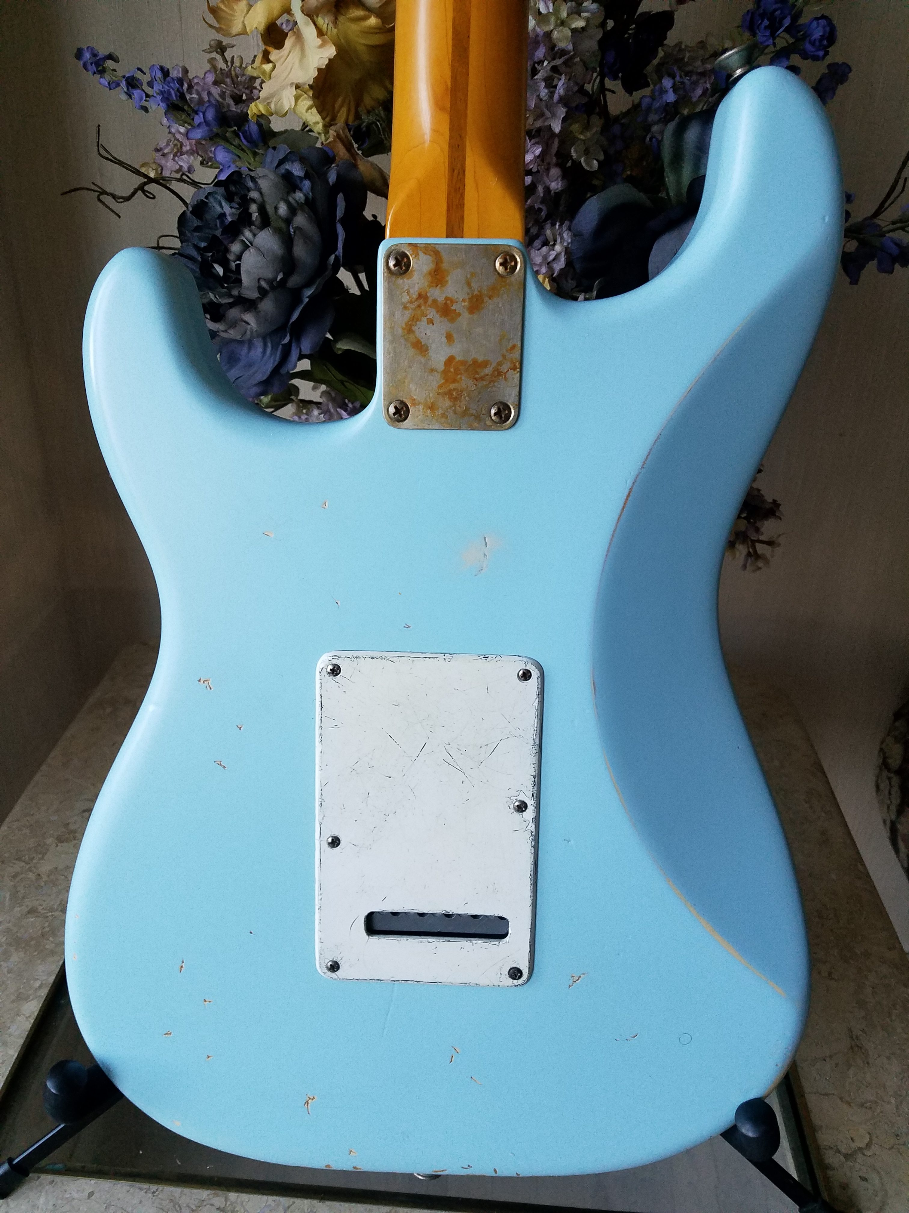 Fender Stratocaster Relic Daphne Blue Maple Neck  Back Cover Guitarwacky.com