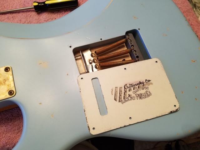Fender Stratocaster Relic Daphne Blue Back Cover Trem Claw Springs Guitarwacky.com