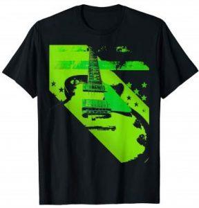 Guitar Vintage Music American Flag T-Shirt Guitarwacky.com
