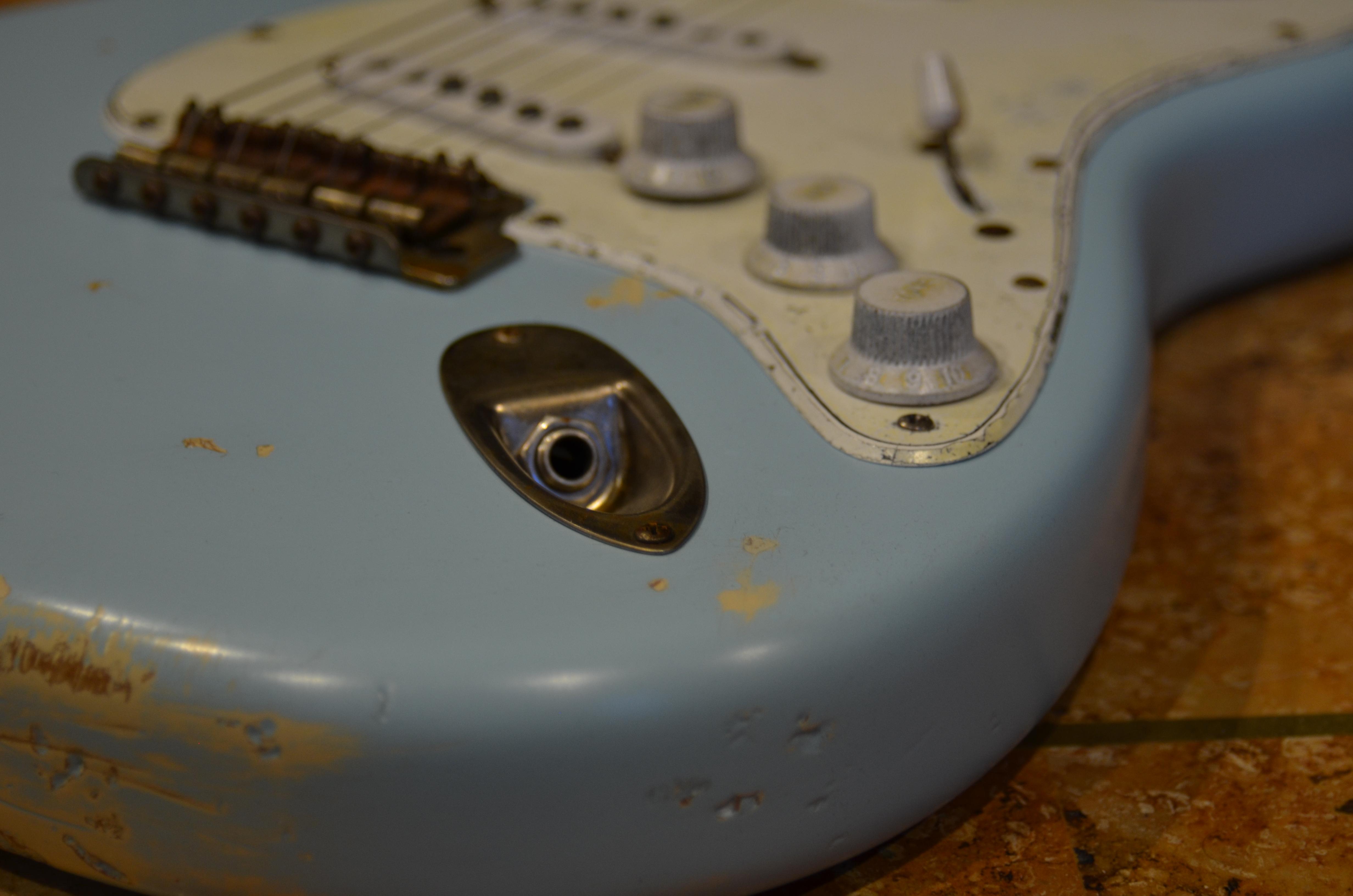 Fender Stratocaster Relic Daphne Blue Jack Plate Guitarwacky.com