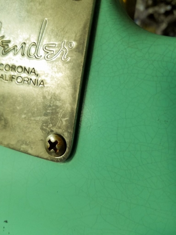 Fender Stratocaster Surf Green Relic Finish Checking Neck Plate Guitarwacky.com