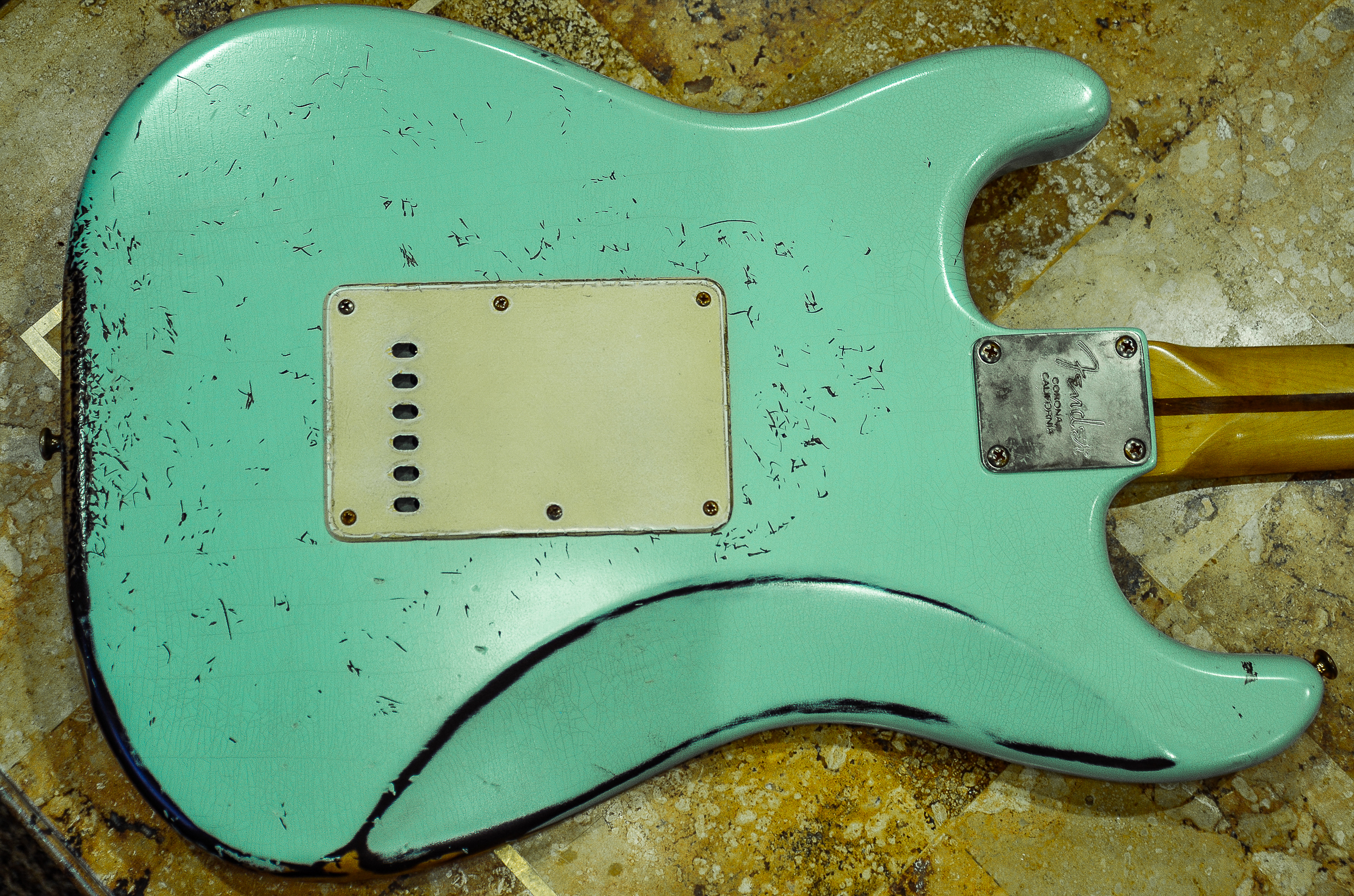 Fender Stratocaster Aged Surf Green Back Plate Cover Guitarwacky.com