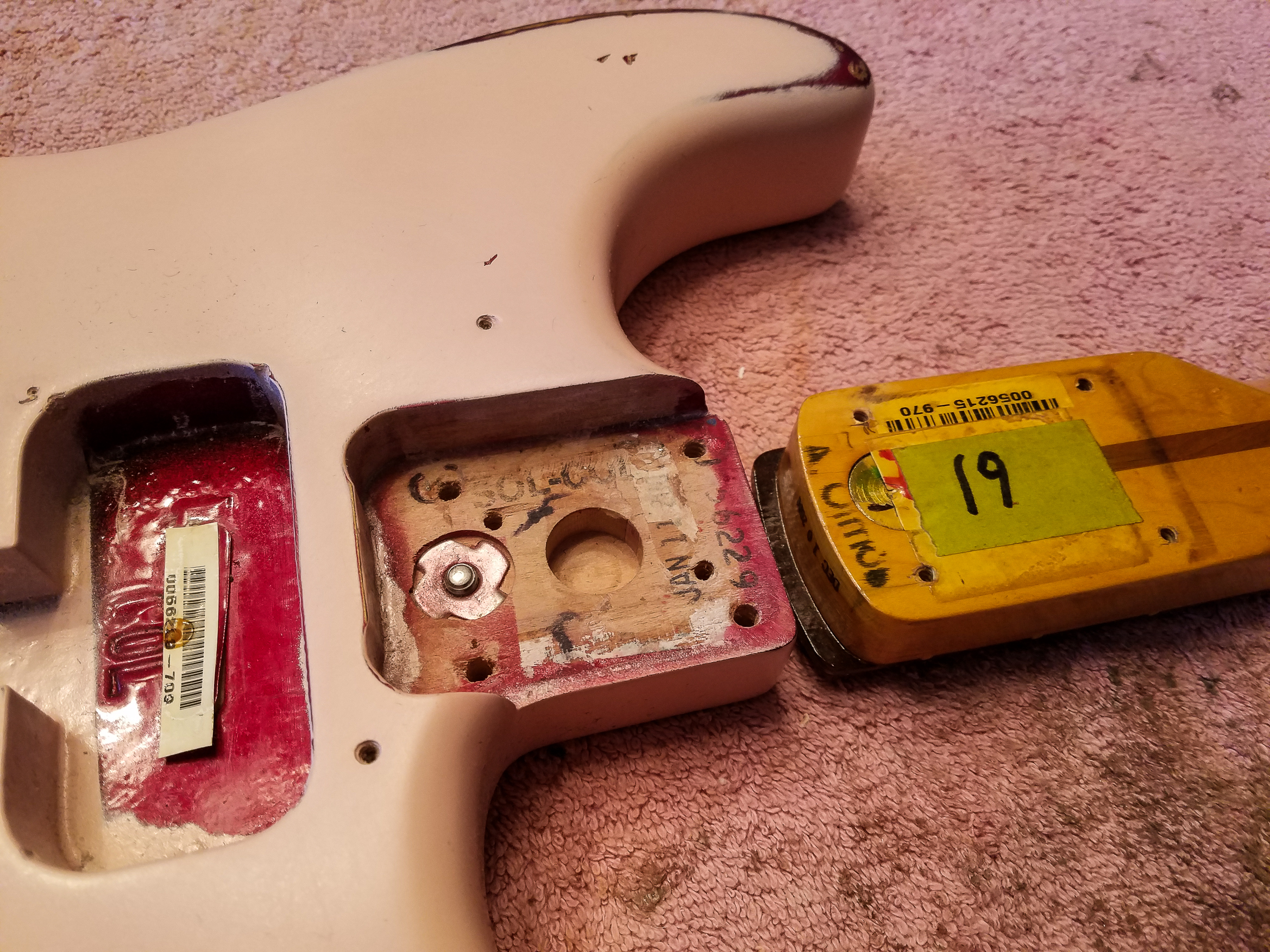 Fender Stratocaster Shell Pink Relic Neck Body Pocket  Guitarwacky.com