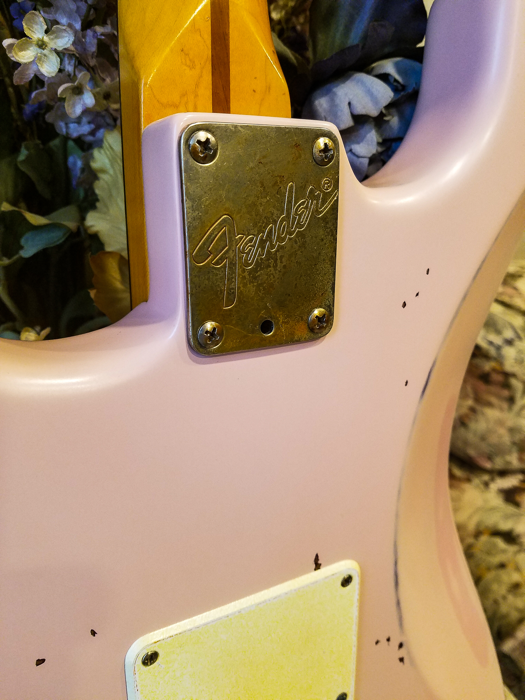 Fender Stratocaster Shell Pink Relic Neck Plate Guitarwacky.com
