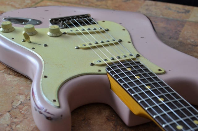 Fender Stratocaster Shell Pink Relic Neck Fret Guitarwacky.com