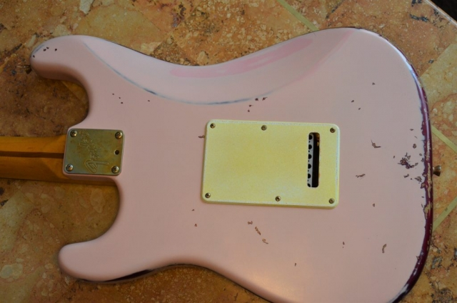 Fender Stratocaster Shell Pink Relic Back Cover Guitarwacky.com