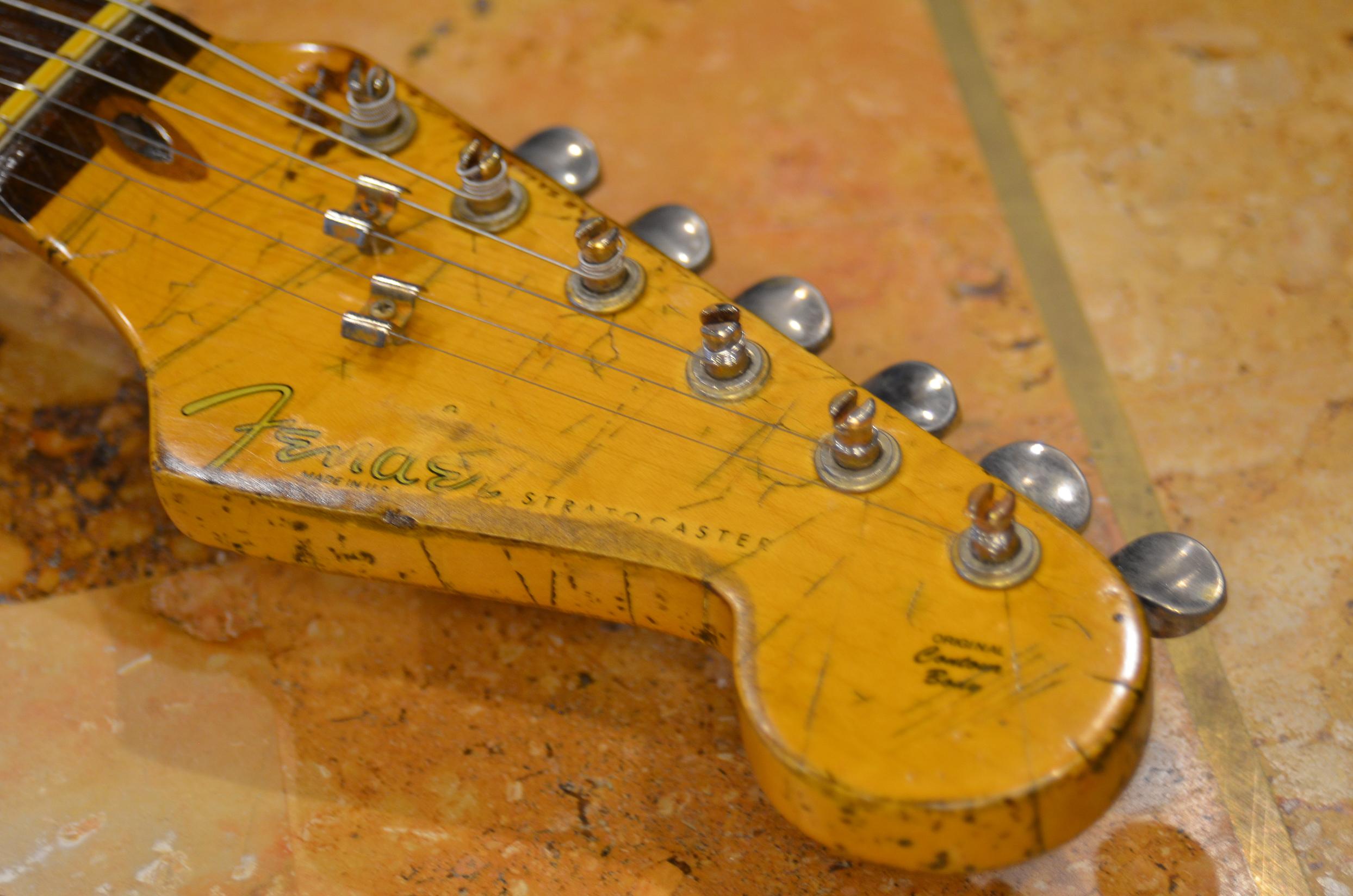 Fender Stratocaster Aged Headstock Logo Guitarwacky.com