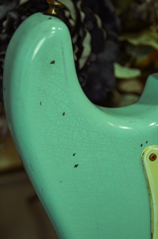 Fender Stratocaster Surf Green Relic Finish Checking Guitarwacky.com