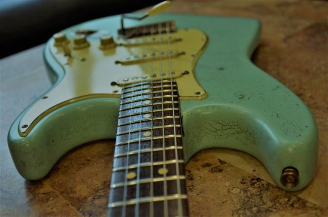 Fender Stratocaster Relic Neck Frets Surf Green Guitarwacky.com