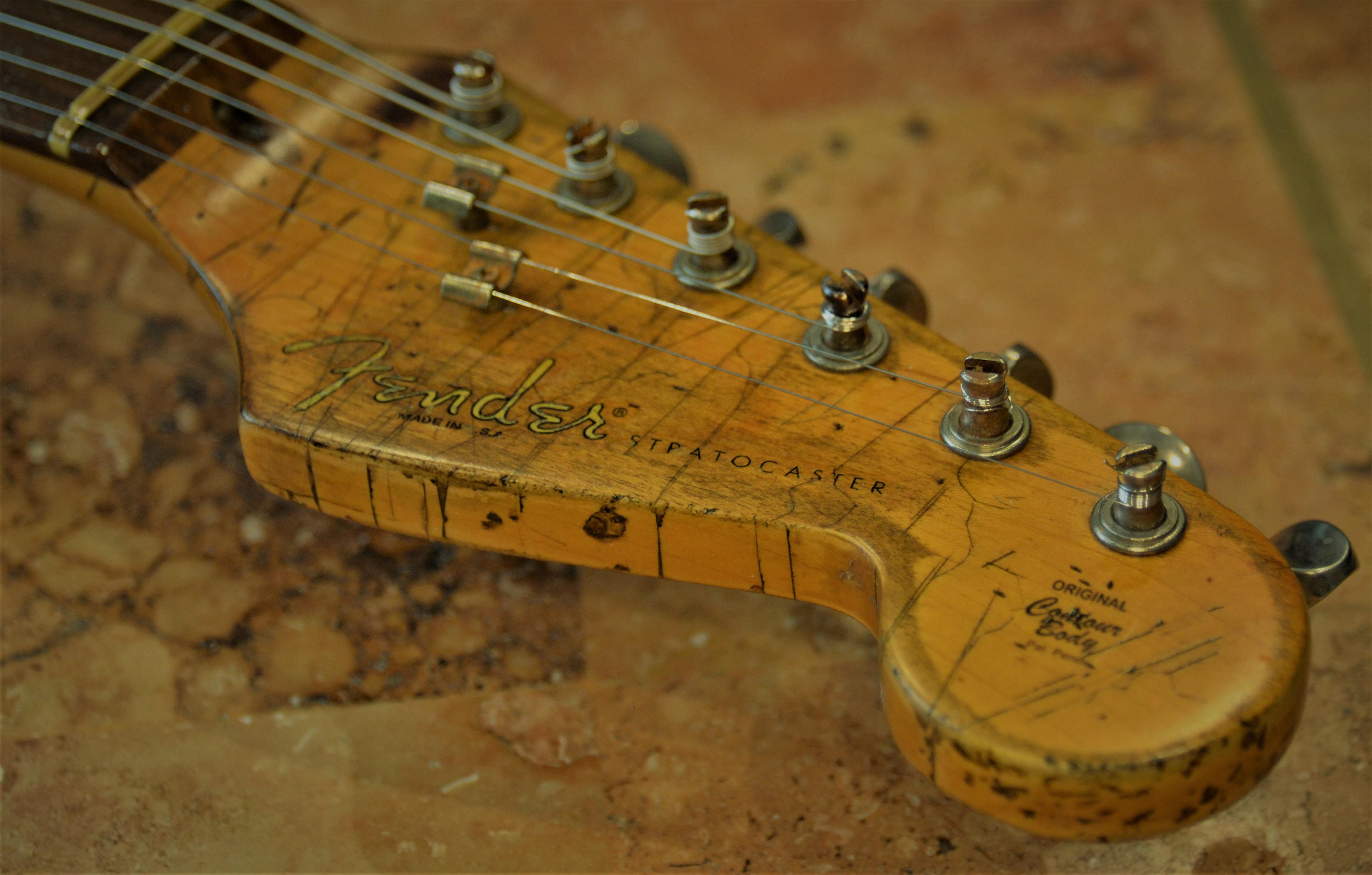 Fender Strat Relic Headstock Vintage Tuners Guitarwacky.com