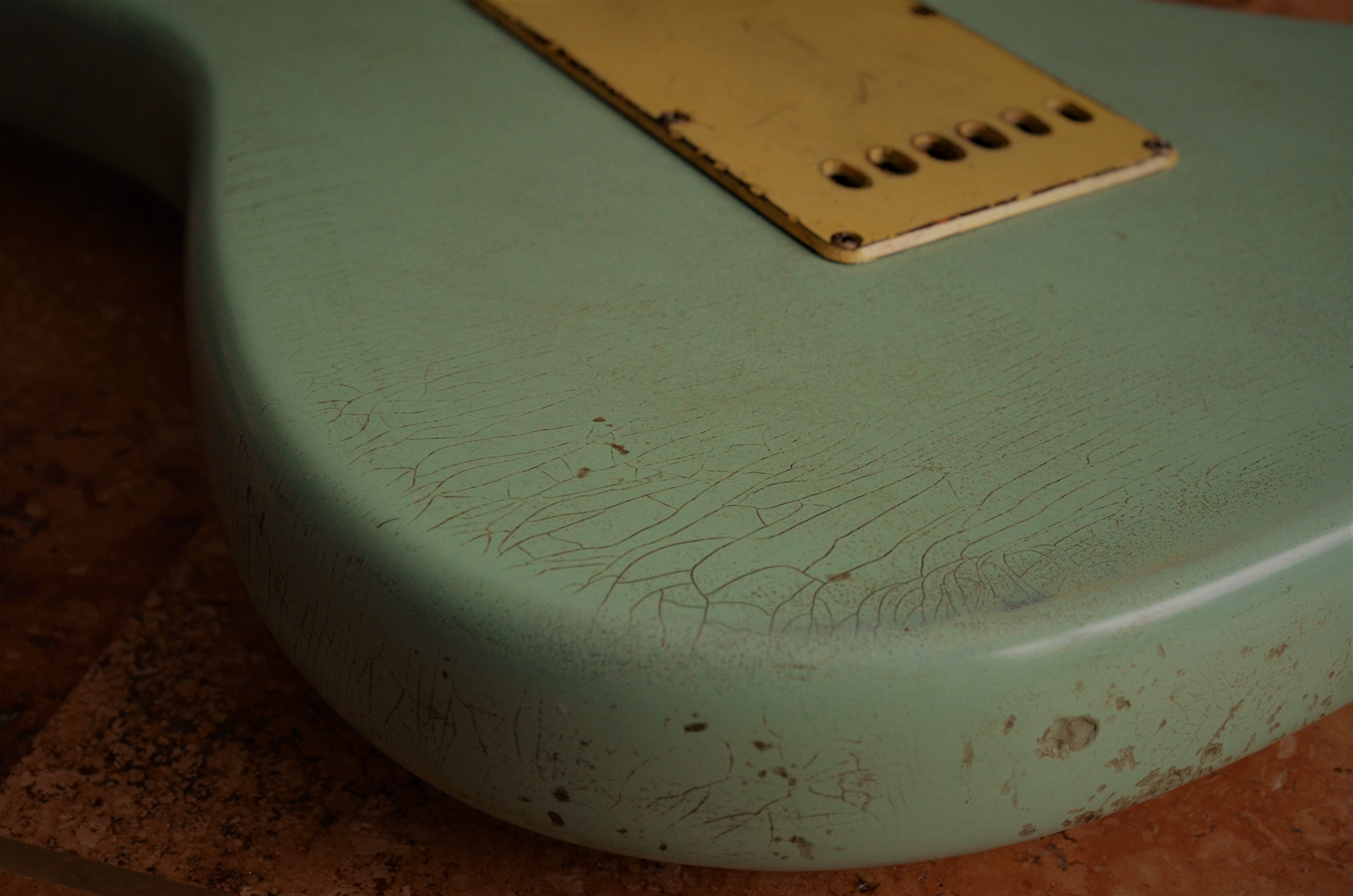 Fender Stratocaster Relic Trem Cover Finish Checking Surf Green Guitarwacky.com
