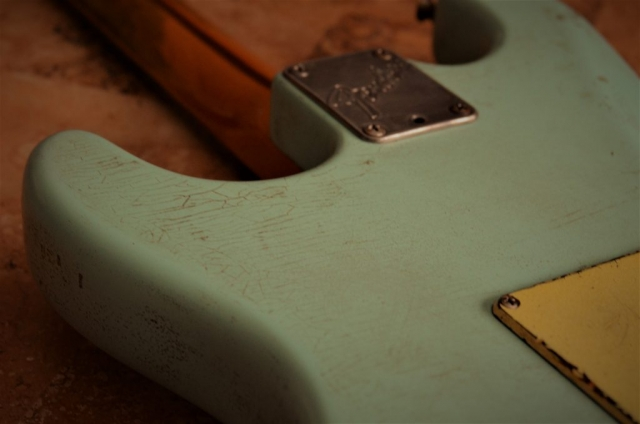 Fender Stratocaster Relic Back Finish Checking Surf Green Guitarwacky.com