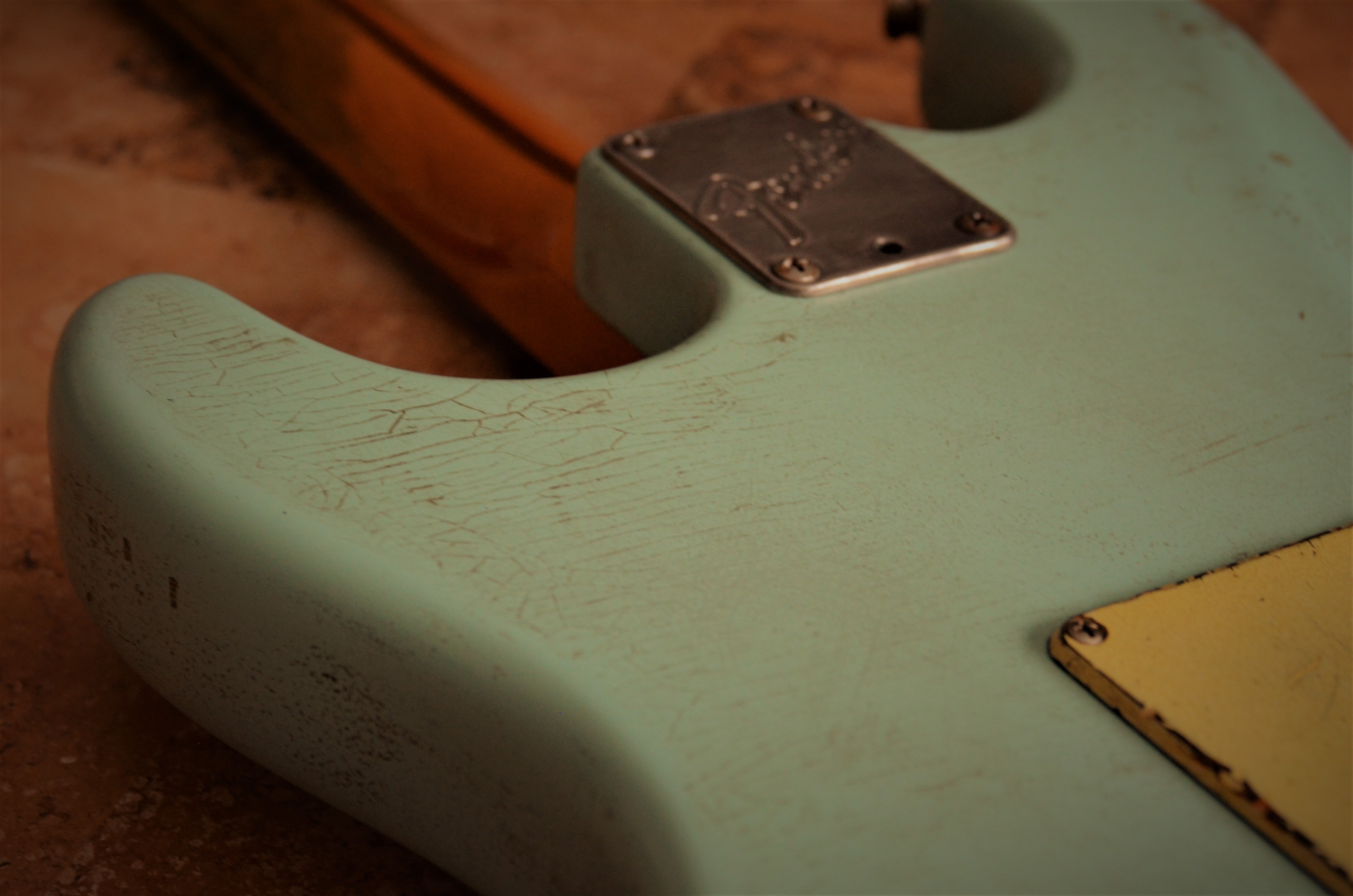 Fender Stratocaster Relic Neck Plate Finish Checking Surf Green Guitarwacky.com