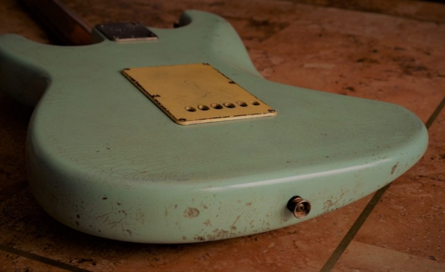 Fender Stratocaster Relic Back Cover Surf Green Guitarwacky.com