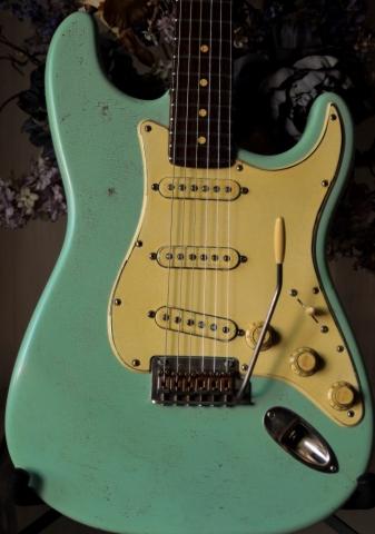 Fender Strat Heavy Relic Surf Green Pickguard Guitarwacky.com