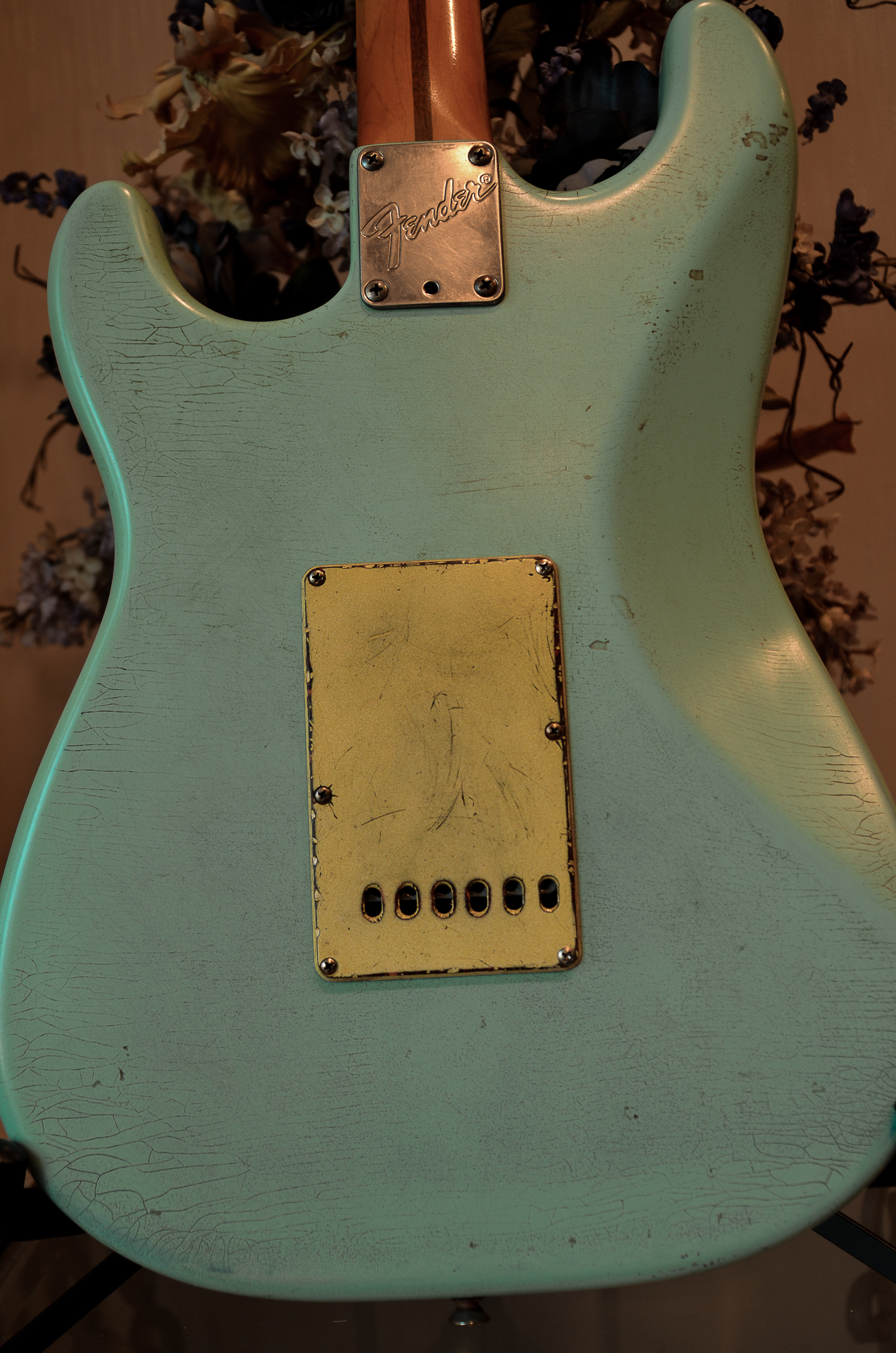 Fender Strat Relic Surf Green Finish Checking Guitarwacky.com