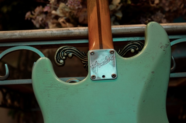 Fender Strat Relic Surf Green Neck Plate Guitarwacky.com