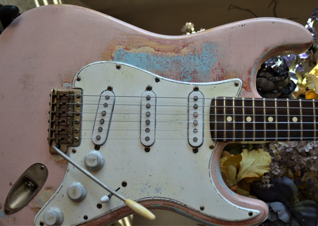 Fender Stratocaster Relic Daphne Blue on Shell Pink Guitarwacky.com