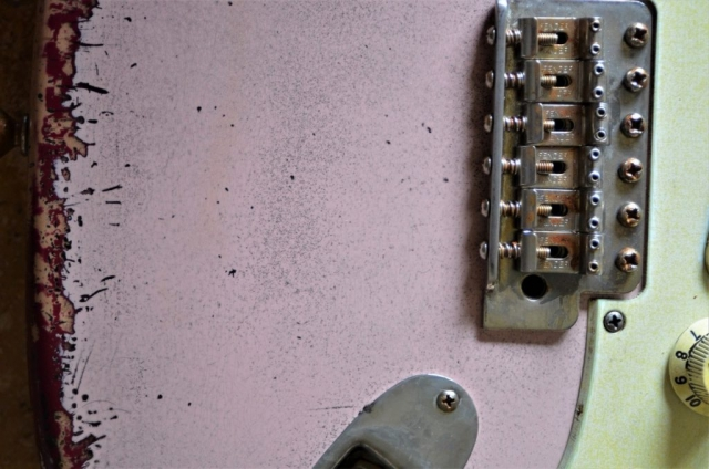Fender Stratocaster Vintage Bridge Relic Aged Shell Pink Guitarwacky.com