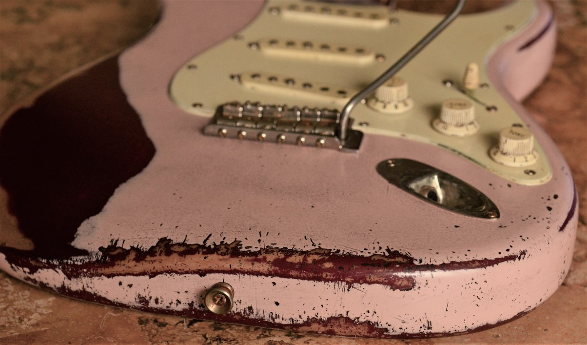 Fender Stratocaster Relic Aged Loaded Body Shell Pink Guitarwacky.com