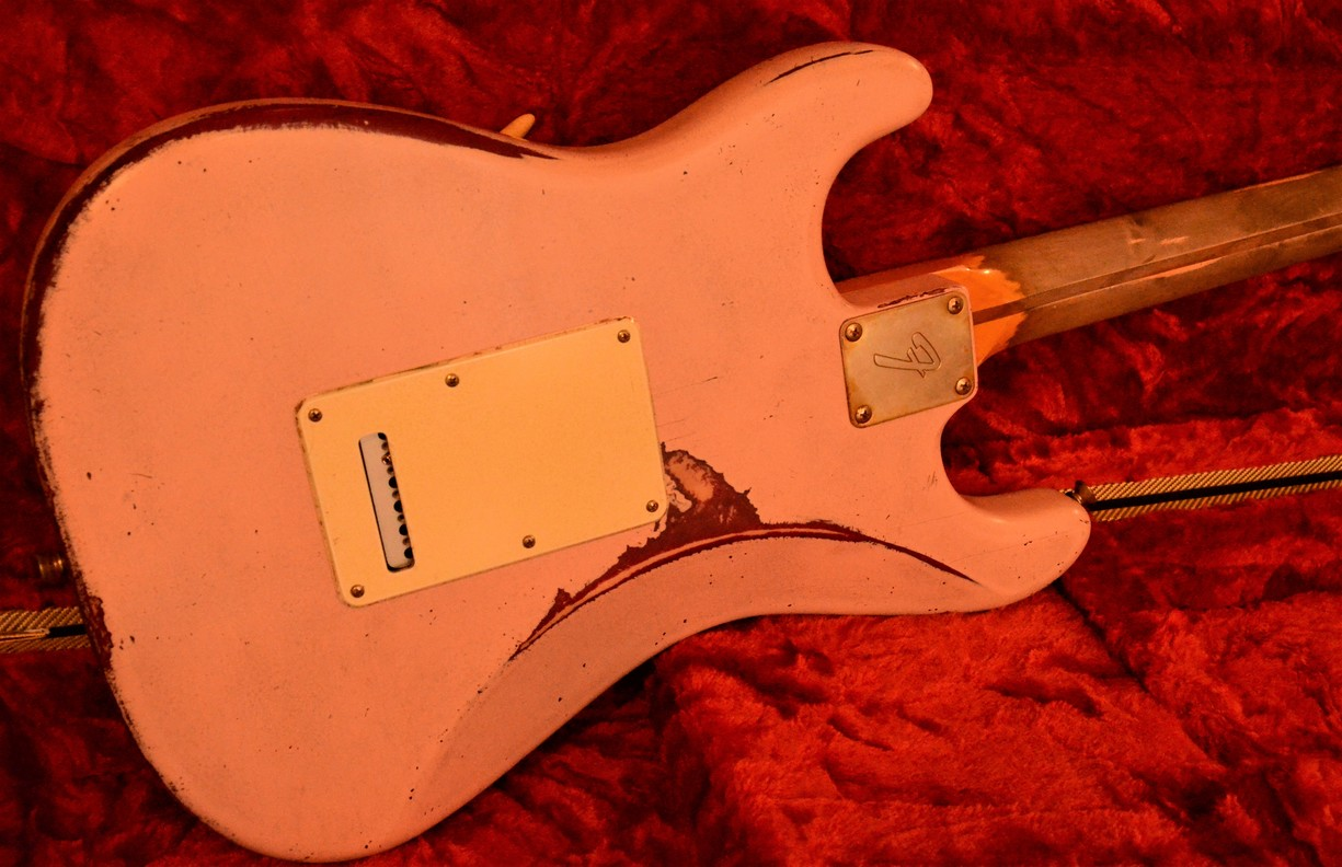 Fender Stratocaster Heavy Relic Shell Pink Back Plate Guitarwacky.com