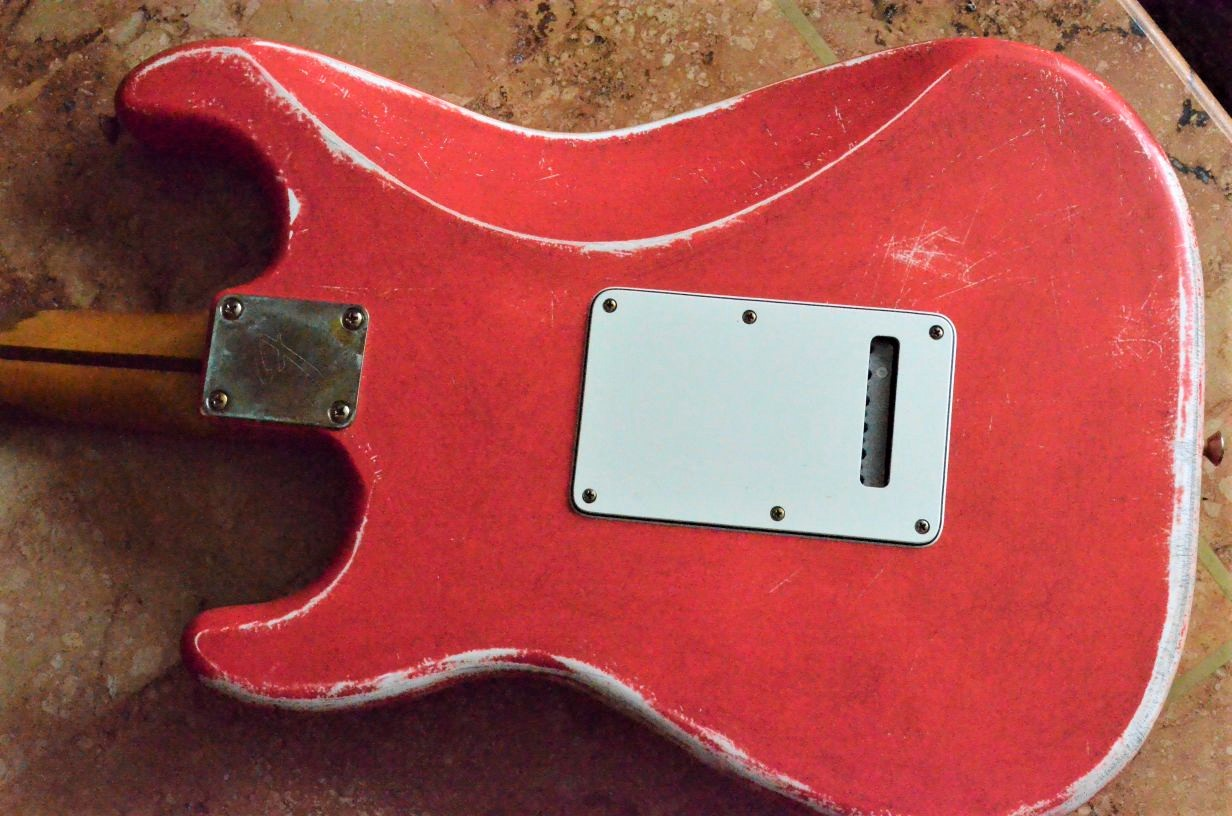 Rear Plate Fender Stratocaster Relic Fiesta Red Guitarwacky.com