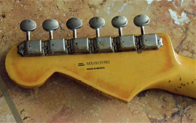 Aged-relic Headstock Fender Stratocaster Guitarwacky.com