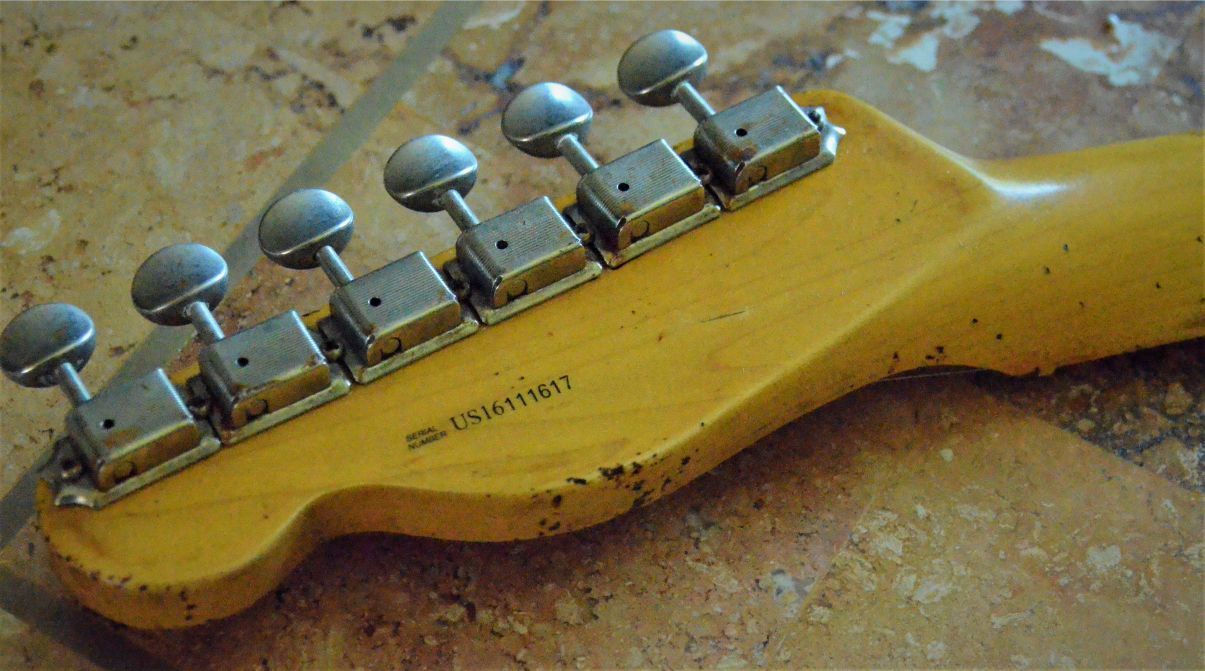 Fender Telecaster Heavy Relic Rear Head stock Ping Tuners Guitarwacky.com
