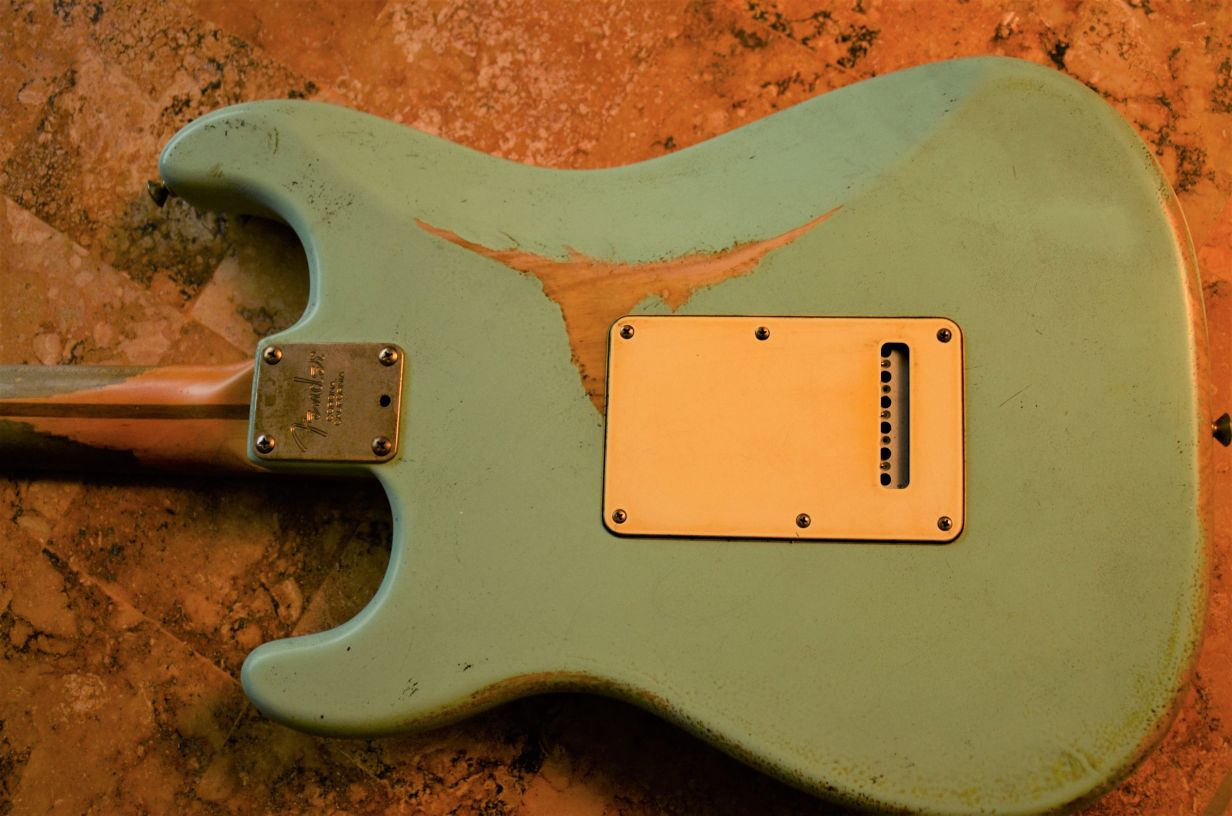 Rear Back Cover Fender Stratocaster Relic Surf Green Guitarwacky.com