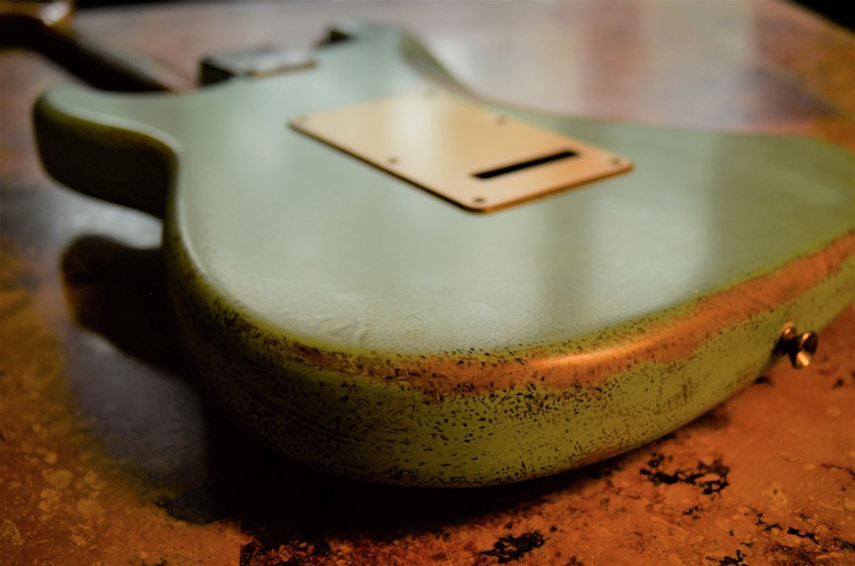 Rear Cover Fender Stratocaster Relic Surf Green Guitarwacky.com