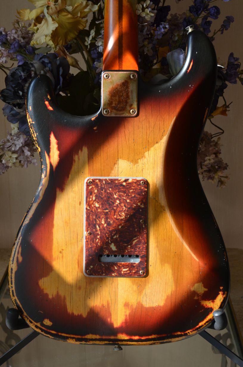 Fender Sunburst Nitro Relic Stratocaster Back Guitarwacky.com