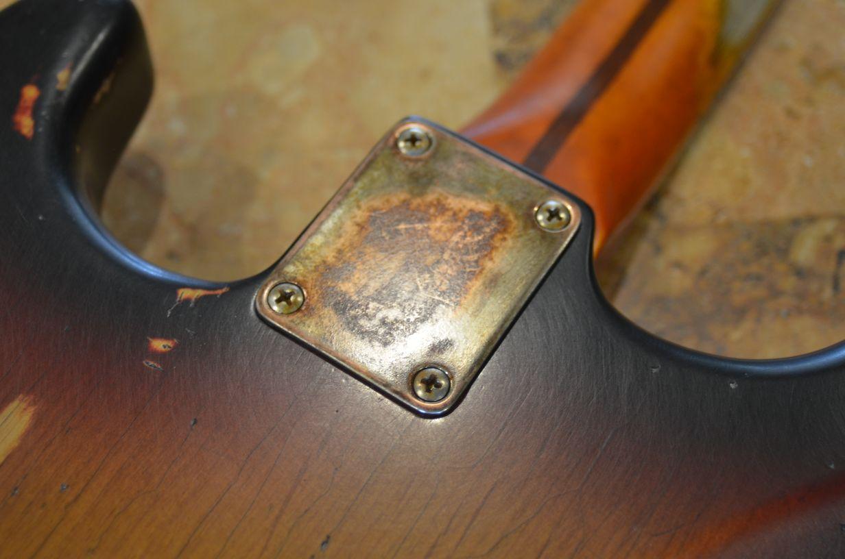 Fender Sunburst Neck Plate relic Stratocaster Guitarwacky.com