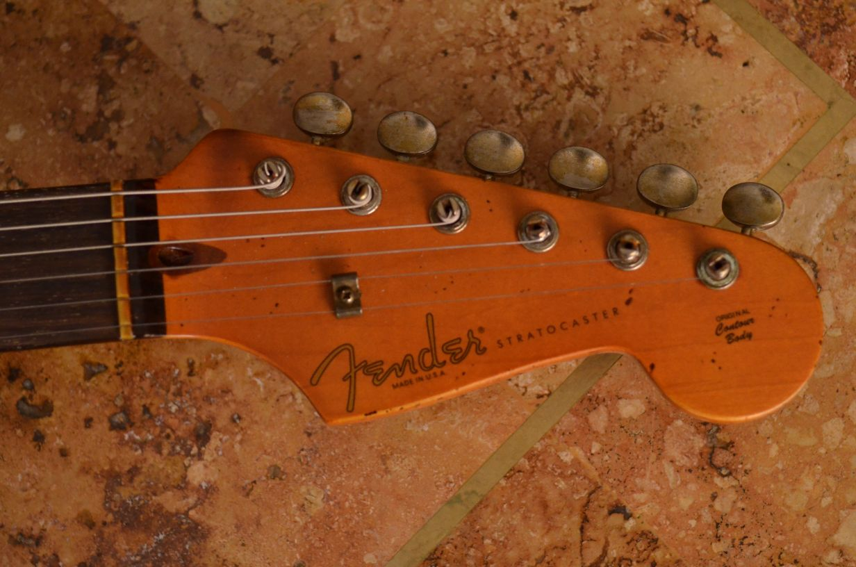 Fender Stratocaster Aged Headstock Guitarwacky.com