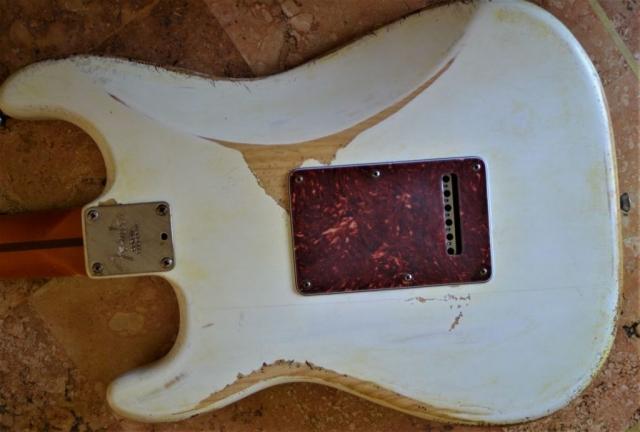 Fender Stratocaster White Relic Tortise Shell Rear Cover Guitarwacky.com
