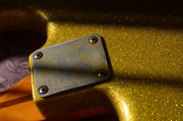 Fender Stratocaster Relic Gold Sparkle neck plate