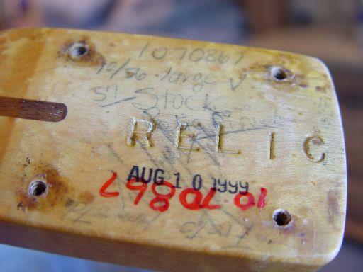 Cunetto Fender Custom Shop Relic Stratocaster Neck Heel