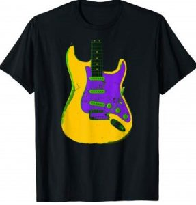 Colorful Distressed American Electric Guitar Art T-Shirt