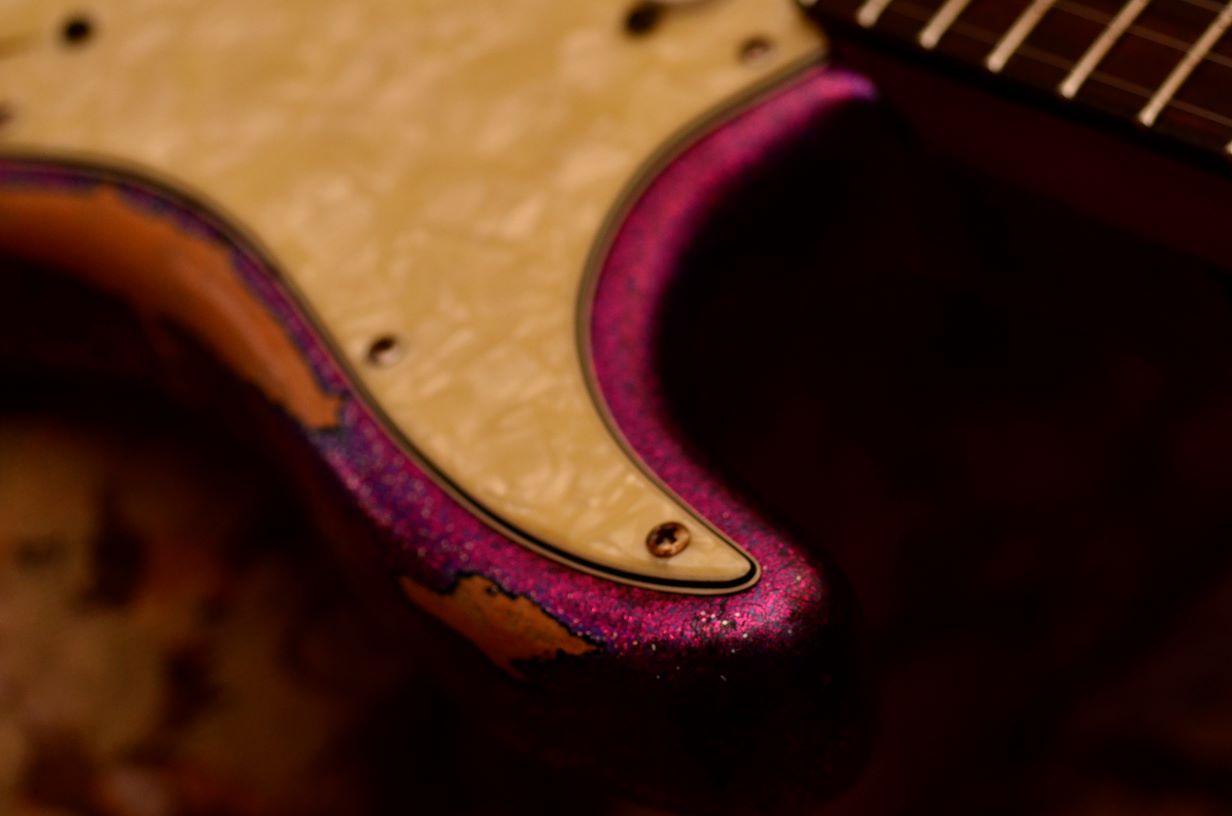Custom Fender American Stratocaster Magenta Sparkle Heavy Relic