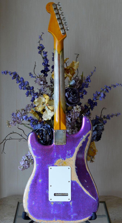 Rear Custom Fender American Stratocaster Magenta Sparkle Heavy Relic