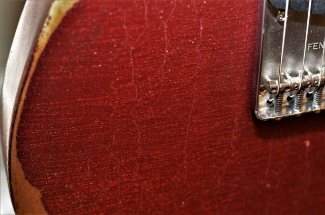 Lacquer Checking Fender Telecaster Custom Red Sparkle Heavy Relic
