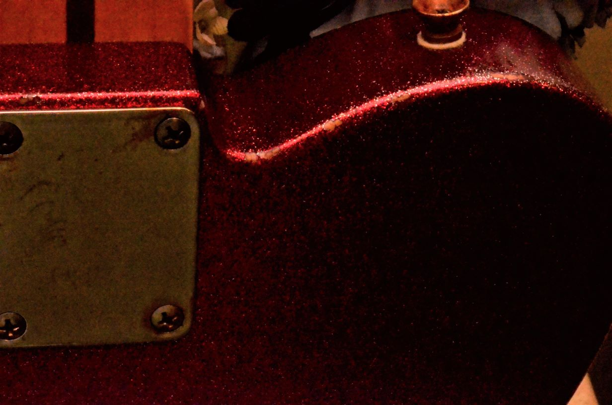 Neck Plate Fender Telecaster Custom Red Sparkle Heavy Relic