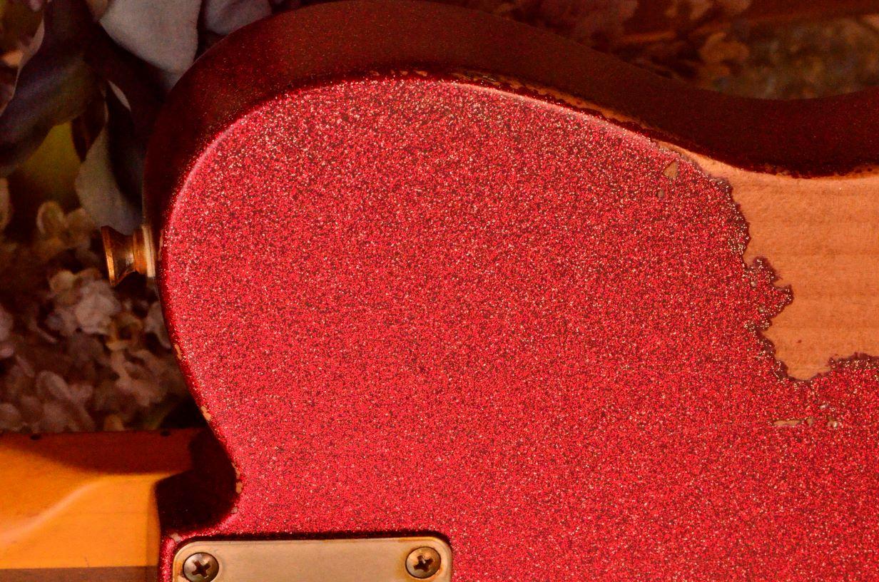 Rear Fender Telecaster Custom Red Sparkle Heavy Relic