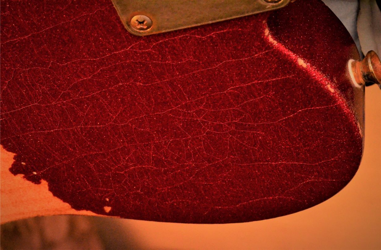 Finish Checking Fender Telecaster Custom Red Sparkle Heavy Relic