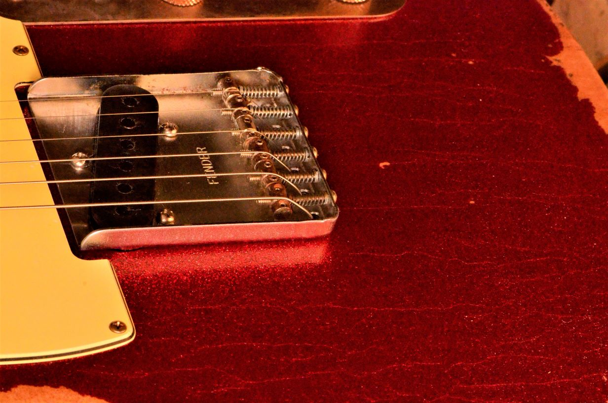 Fender Telecaster Custom Red Sparkle Aged Finish Checking